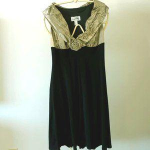 Black & Antique Gold Evening Dress. US Size 8.